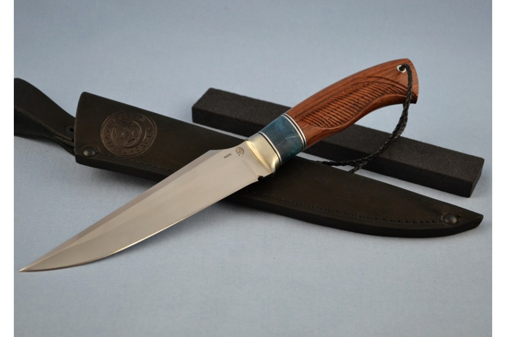 """Нож """"Гепард"""" (440C, литье мельхиор перед, стабилизированное дерево, бубинга, резной)"""