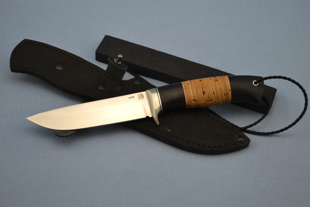 """Нож """"Лиса"""" (440C, литье мельхиор перед, мореный граб, береста)"""