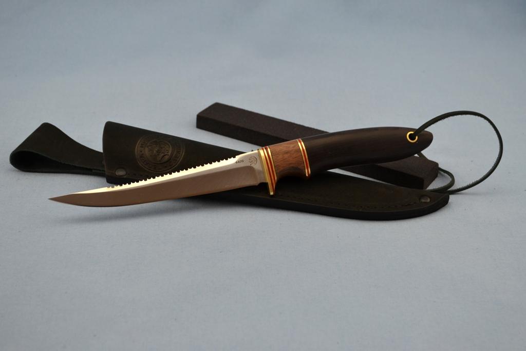 """Нож """"Рыбак"""" (440C, бубинга, мореный граб)"""