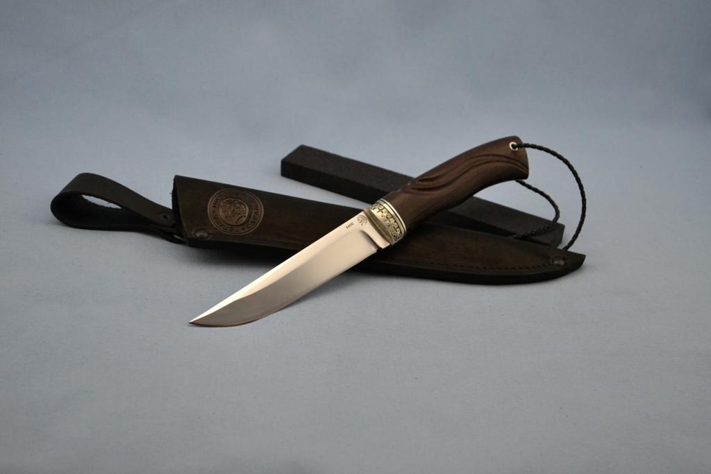 """Нож """"Волк"""" (440C, художественное литье мельхиор перед, венге, резной)"""