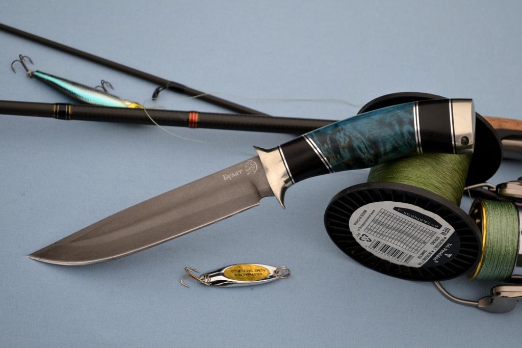 """Нож """"Беркут"""" (Булат, литье мельхиор, мореный граб, стабилизированное дерево)"""