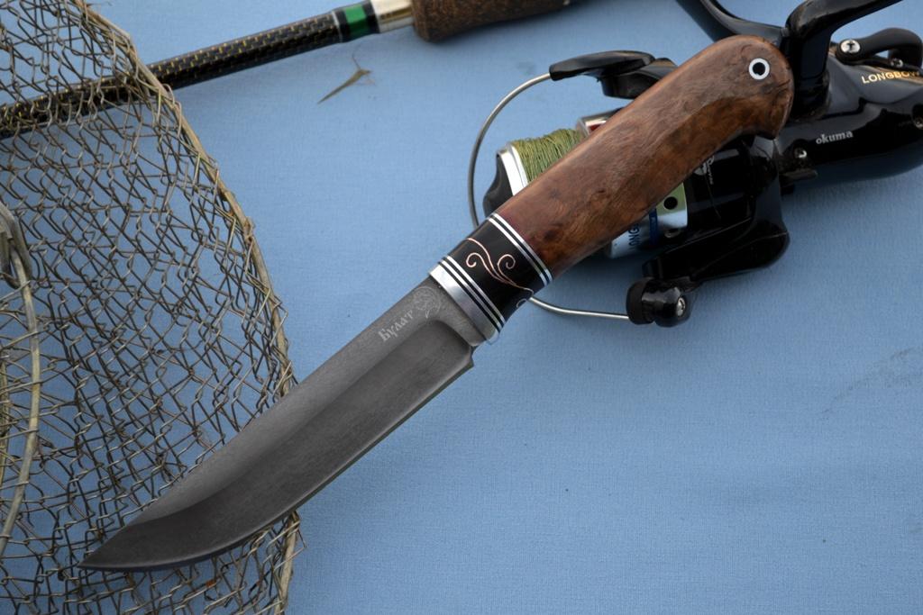 """Нож """"Мангуст"""" (Булат, мореный граб, инкрустация медь, стабилизированное дерево)"""