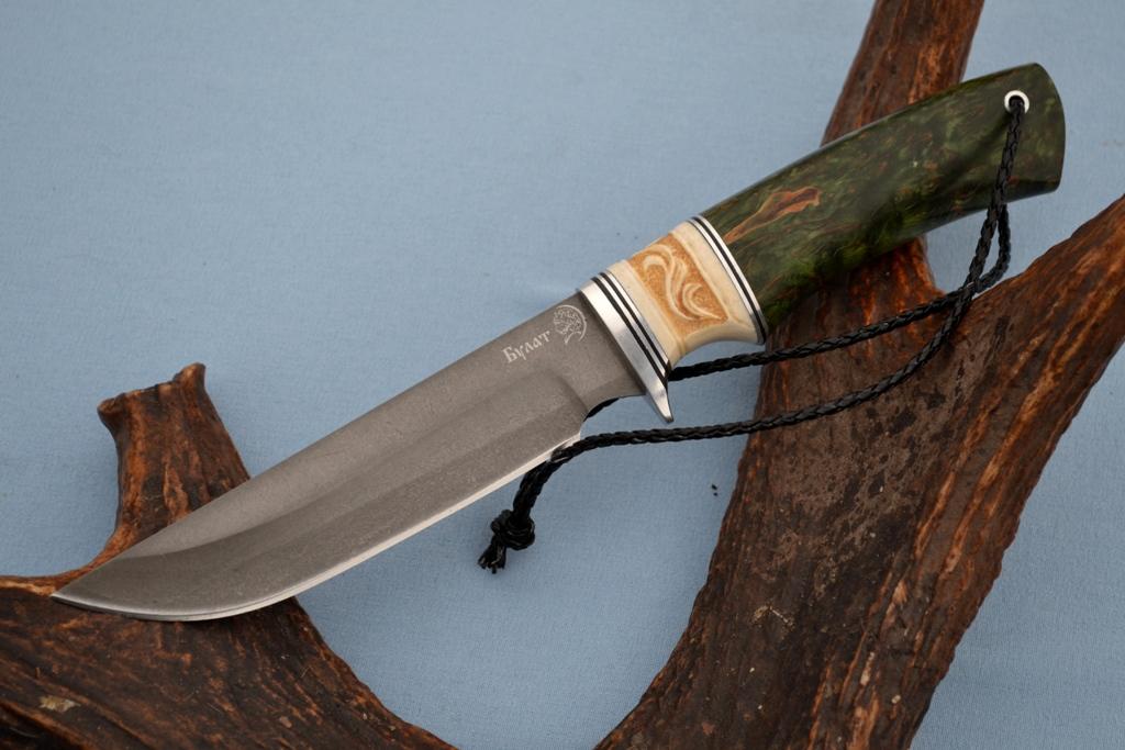 """Нож """"Турист"""" (Булат, рог лося резной, стабилизированное дерево)"""