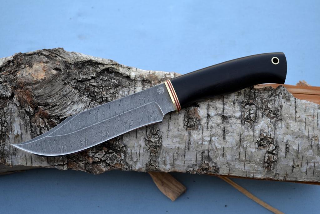 """Нож """"Аллигатор"""" (Дамасская сталь, мореный граб)"""