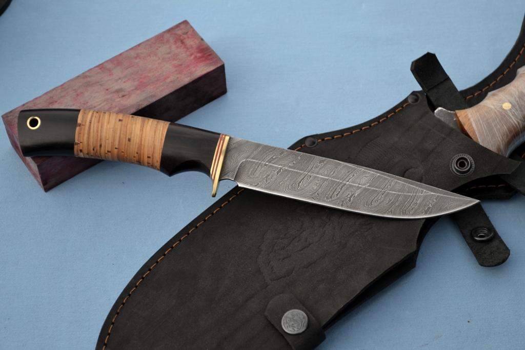 """Нож """"Беркут"""" (Дамасская сталь, граб, береста)"""
