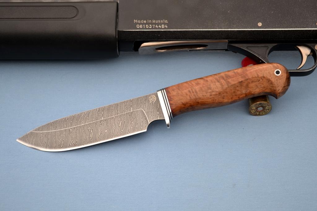 """Нож """"Ворон"""" (Дамасская сталь, стабилизированное дерево)"""