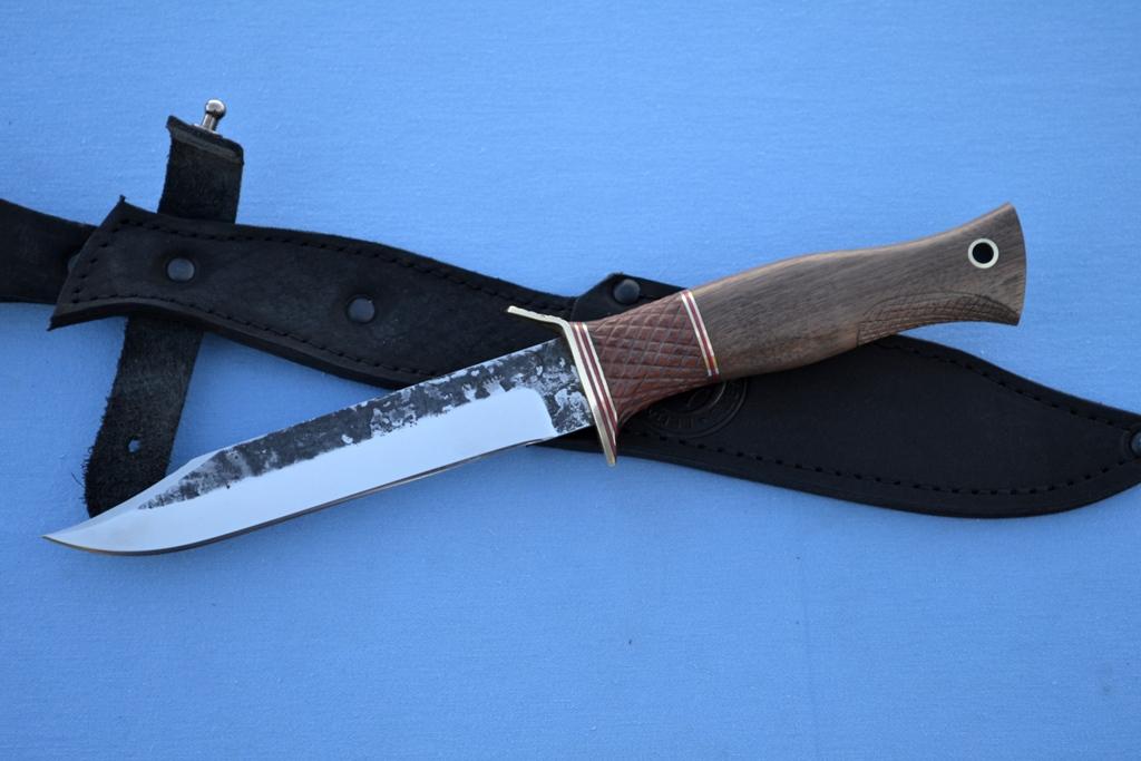 "Нож ""Разведчик"" (Х12МФ, бубинга, корень ореха, оружейная насечка)"