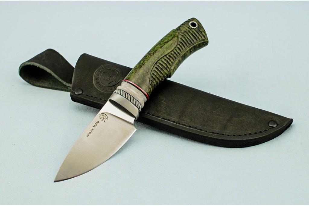 "Нож ""Ласка"" (BOHLER M390 MICROCLEAN, титан, рог лося, стабилизированная карельская береза, резной)"