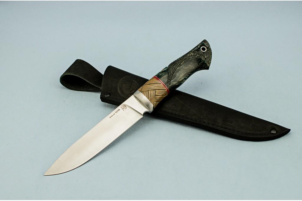 """Нож """"Рысь"""" (BOHLER M390 MICROCLEAN, титан, текстолит, стабилизированная карельская береза, резной)"""