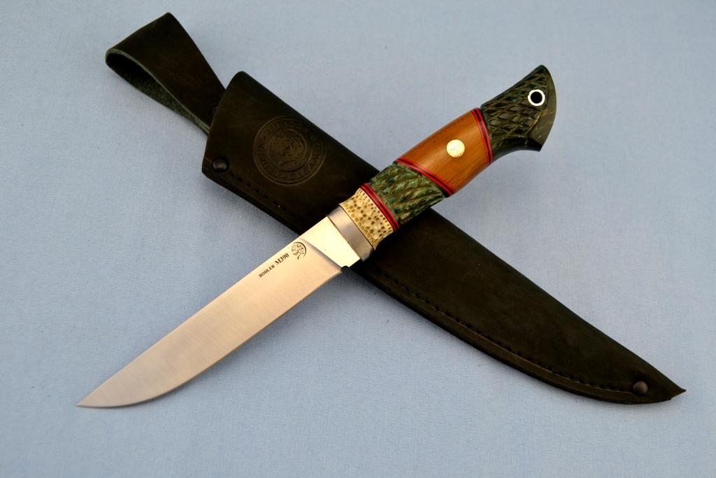 """Нож """"Волк"""" (BOHLER M390 MICROCLEAN, титан, рог лося, стабилизированная карельская береза, текстолит, резной, мозаичный пин)"""