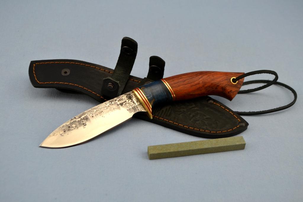 """Нож """"Куница"""" (9ХС, стабилизированная карельская береза, бубинга)"""