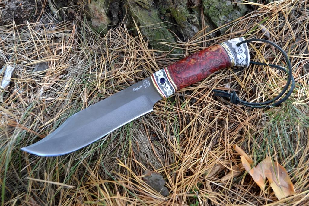 """Нож """"Аллигатор"""" (Булат, стабилизированная карельская береза, резной, рог лося, скримшоу, инкрустация лазурит)"""
