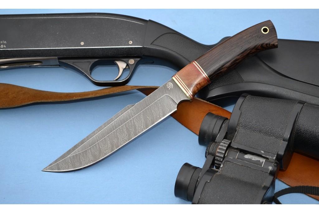 """Нож """"Медведь"""" (Дамасская сталь, стабилизированное дерево, венге)"""