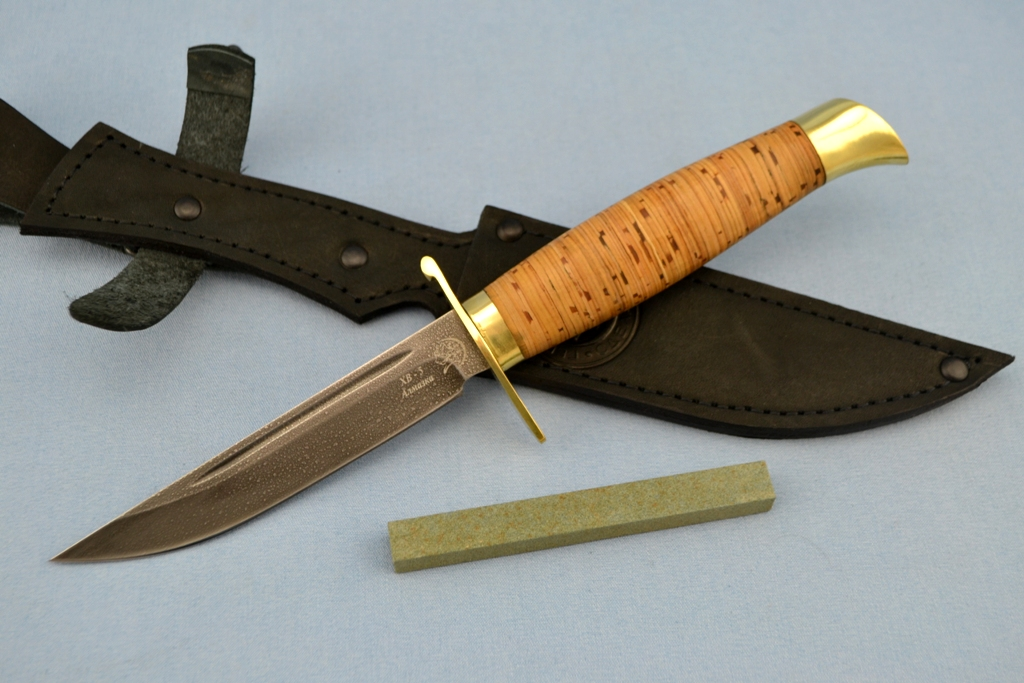 """Нож """"Финка"""" (ХВ5, литье латунь, береста)"""