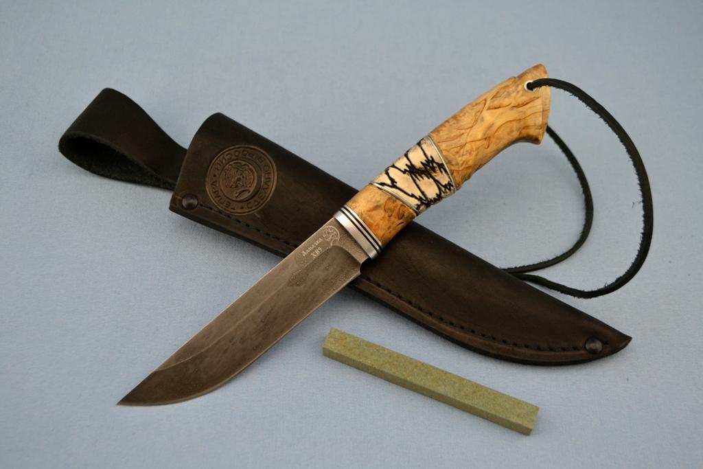 """Нож """"Мангуст"""" (ХВ5, карельская береза, рог лося, резной)"""