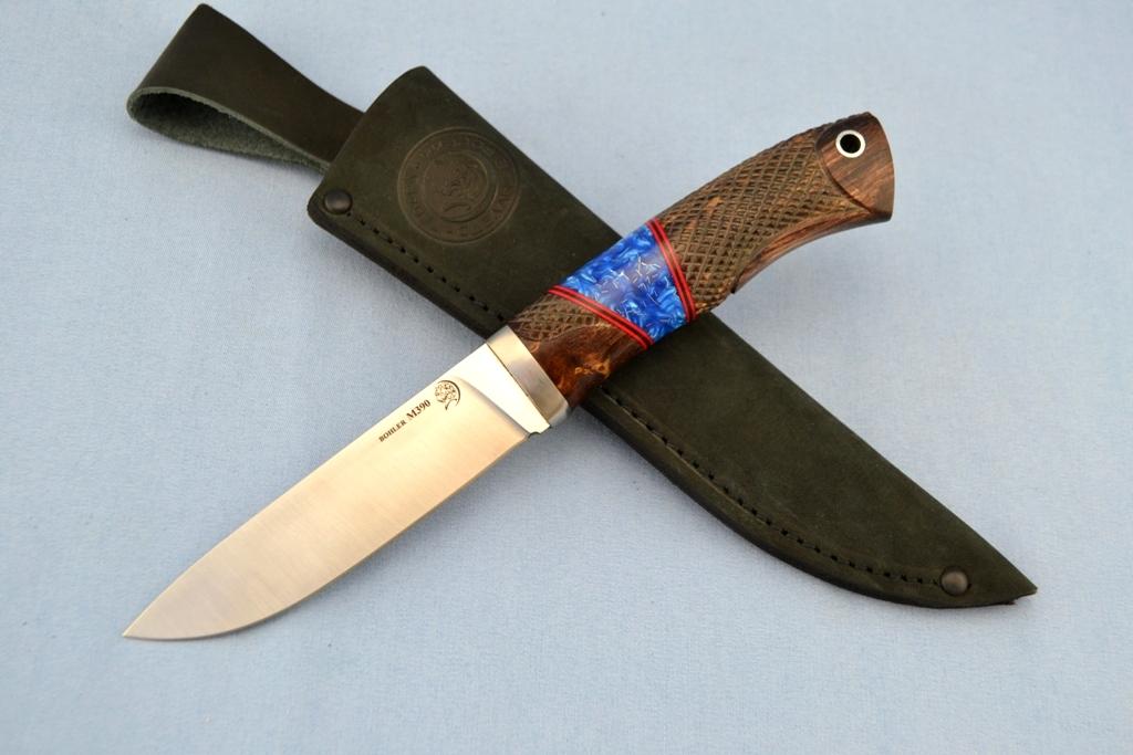 """Нож """"Лиса"""" (BOHLER M390 MICROCLEAN, титан, стабилизированная карельская береза, полимер, резной)"""